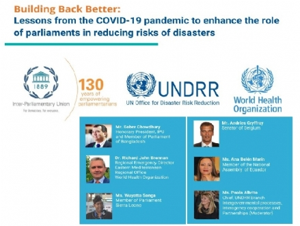 "Participation of the PABSEC International Secretariat to the online webinar ""Building back better: Lessons from the COVID-19 pandemic to enhance the role of parliaments in disaster risk reduction"", 9 July 2020"